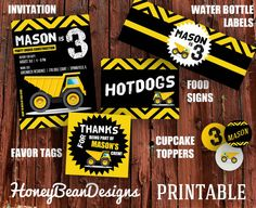 PRINTABLE Construction Birthday Party Dump Truck Party Package with FREE BANNER