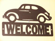 Vintage VW Volkswagen Metal WELCOME Plaque