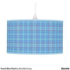 Pastel Blue Plaid Ceiling Lamp