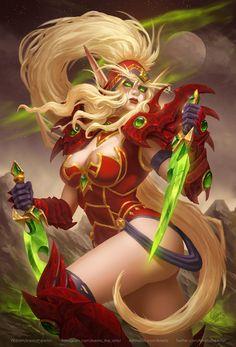 Valeera Sanguinar, Kirill Stepanov - Pubg, Fortnite and Hearthstone Fantasy Art Women, Dark Fantasy Art, Fantasy Girl, Fantasy Artwork, Fantasy Princess, Final Fantasy, World Of Warcraft, Warcraft Art, Mononoke Cosplay