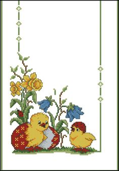 This Pin was discovered by lil Cross Stitch Cards, Cross Stitch Rose, Cross Stitch Animals, Cross Stitch Flowers, Cross Stitching, Baby Cross Stitch Patterns, Cross Stitch Designs, Chicken Cross Stitch, Easter Cross