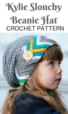 CUTE BUTTON!! I love the chevron on the brim of this slouch hat, too! Toddler- Child- Adult sizes #lovecrochet #affiliate #crochethats