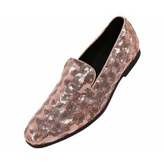 15f259445cd1 Mens Sequin Circle Patterned Smoking Slipper Dress Shoe- Nightclub Slip On  Loafer- Style Swirl - Rose Gold - CW1875N66O7