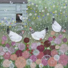 'Chickens in a Summer Garden' by Lucy Grossmith Illustrations, Illustration Art, Original Paintings For Sale, Chicken Art, Jolie Photo, Naive Art, Art Graphique, Whimsical Art, Bird Art