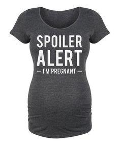 Heather Charcoal 'Spoiler Alert' Maternity Scoop Neck Tee #zulilyfinds