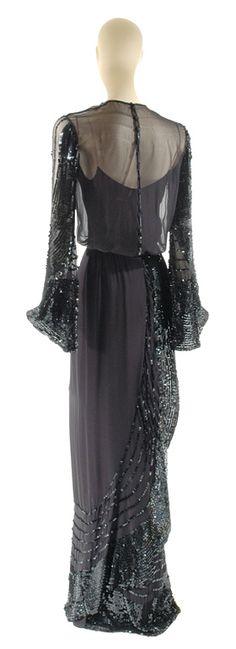 Lagerfeld for Chanel Black Silk Chiffon Gown, circa 1983