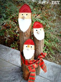 All you have to do is give the ends Santa faces and then use a ribbon to tie all three logs together to create adorable decor to sit by your front door. Get the tutorial at Smart Girls DIY »  - GoodHousekeeping.com