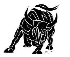 nice black and white tribal bull tattoo design