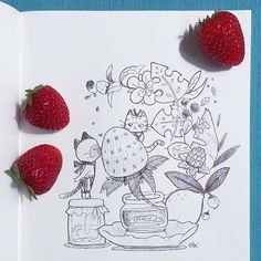 Cats love strawberries #doodle #pen #strawberry # #cats #thousandskies by thousandskies