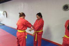 Jennifer and Andi practicing self defense
