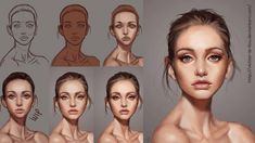 21 Digital Painting Process Pictures (Step-By-Step) - Paintable digital art face - Digital Art Digital Painting Tutorials, Digital Art Tutorial, Art Tutorials, Drawing Tutorials, Digital Paintings, Drawing Tips, Drawing Ideas, Digital Painting In Photoshop, Concept Art Tutorial