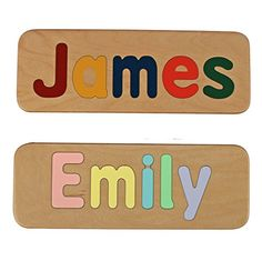 Name Puzzle  Raised Letters  Handmade Wooden Custom Personalized  First Birthday Gift  Educational Toy  Kids Wood Name -- Read more reviews of the product by visiting the link on the image.Note:It is affiliate link to Amazon.