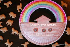 Noah's Ark Craft - Paper Plate Basket Holds Animal Crackers