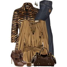 Animal Print Trench and Jeans