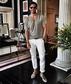 Johannes Huebl wearing Grey Crew-neck T-shirt, White Chinos, Grey Suede Tassel Loafers Neue Outfits, Komplette Outfits, Casual Outfits, Summer Outfits, Stylish Men, Men Casual, Johannes Huebl, Loafers Outfit, Tassel Loafers