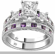 I like the colored stone in the wedding ring.