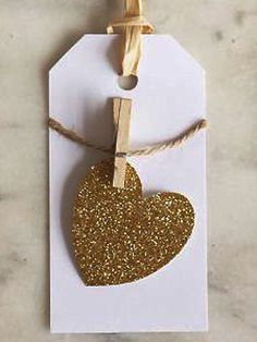 Cute pegged gold heart gift tags - could do this with sheet music stamped out heart, and mini peg sprayed gold, with table numbers on the hearts Valentine Cards To Make, Valentines For Kids, Wrapping Paper Crafts, Gift Wrapping, Crafts To Sell, Diy Crafts, Heart Crafts, Paper Tags, Gold Christmas
