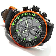 Invicta Mens Sea Hunter Swiss Chronograph Exhibition Back Strap Watch