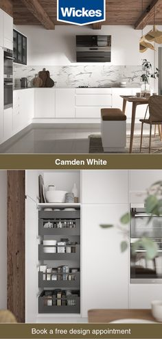Camdens handles are integrated into the door, giving it a look. Each door has a stunning satin smooth which is on but also fingerprint-resistant, making this a practical choice for any White Kitchen Cupboards, Handleless Kitchen, Kitchen Wall Tiles, Howdens Kitchens, Kitchen Appliances, Camden Kitchen, Kitchen Interior, Kitchen Decor, Johnson House