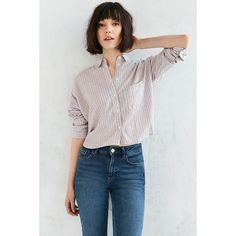 BDG Marcelle Cropped Button-Down Shirt ($49) ❤ liked on Polyvore featuring tops, red, button down crop top, crop shirts, print button down shirt, red button up shirt and patterned button down shirts