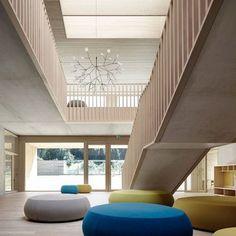 Modern Interiors Design : Kindergarten Susi Weigel by Bernardo Bader built from timber and concrete