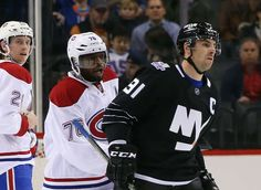11.20.15 - Habs vs Isles - P.K. Subban #76 of the Montreal Canadiens talks to John Tavares #91 of the New York Islanders at the end of the first period at the Barclays Center in the Brooklyn borough of New York City. (Photo by Bruce Bennett/Getty Images)
