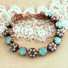 Mint coral Crystal Bracelet Mint orange swarovski by iloniti