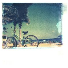 SHE HIT PAUSE STUDIOS 'Beach Bicycle' Wall Art ($95) found on Polyvore