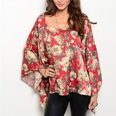 Gorgeous Wine and beige kimono top! M Gorgeous kimono top! Batwing sleeves. Beautiful wine and beige coloring! Super flattering! ❌NO TRADES ❌PRICE IS FIRM Tops Blouses