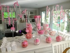 Pink Valentines Day Candy Buffet for 30 12 year old girls. Birthday Candy, Barbie Birthday, Barbie Party, Birthday Party Games, 12th Birthday, Girl Birthday, Candy Buffet Tables, Candy Table, Dessert Tables