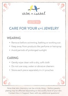 Top tips for caring for your c+i jewelry!