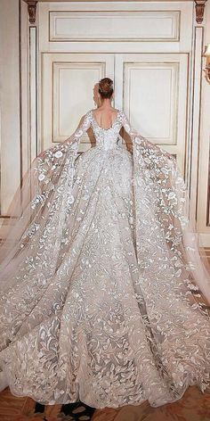 30 Ball Gown Wedding Dresses Fit For A Queen ❤️ ball gown wedding dresses w. 30 Ball Gown Wedding Dresses Fit For A Queen ❤️ ball gown wedding dresses with low back and long sleeves by sadek majed couture ❤️ See more: www. Princess Wedding Dresses, Dream Wedding Dresses, Bridal Dresses, Queen Wedding Dress, Princess Ball Gowns, Ball Gown Wedding Dresses, Modest Wedding, Wedding Dress Long Train, Lace Wedding