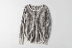 AEO Hi-Low Textured Sweater  by  American Eagle Outfitters | Warm up to cooler weather with a new collection of this season's essentials–featuring our coziest sweaters yet, in rich hues and soft textures. Shop the AEO Hi-Low Textured Sweater  and check out more at AE.com.