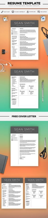 Modern Resume Templates Curriculum Vitae Template - Professional Resume Template + Cover Letter - Microsoft Word Mac / PC - Resume Templates - Instant Download