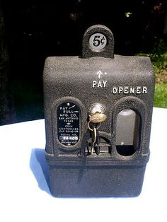 1939 coin-operated bottle opener vending machine! Put a nickel in, an arm drops down - once you use the arm to get the bottlecap off, the arm goes back up into the machine. Made to be mounted on the old soda vending machines in bars and at sporting events. Surely one of the strangest (dumbest?) coin-op machines around! (on eBay)