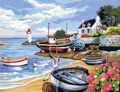 Painting By Numbers - Fishing Village. PBN1035 | Hobbies The Masterpiece Senior range of painting by numbers are for the more experienced artist. Contents: Pre-printed board, acrylic paints, brush and instruction sheet. Size: 407mm x 305mm