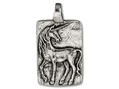 Green Girl Studios Pewter Believe Unicorn Rectangle Pendant