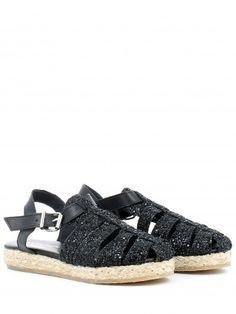Sandalo ragnetto glitter nero para in corda CHARME.... Sandalo a ragnetto glitterato nero, con cinturino alla caviglia in pelle regolabile; soletta in pelle, para in corda e fondo in gomma. Una scarpa sfiziosa Made in Italy.... Buy it on:  http://www.langolo-calzature.it/it/donna/sandalo-ragnetto-glitter-nero-para-in-corda