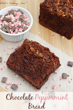 Chocolate Peppermint Bread.  A delicious and moist chocolate bread with chocolate chunks and peppermint chips in each bite. This bread is great for breakfast or dessert. #bread #chocolate #peppermint