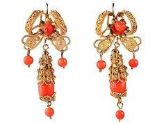 Artisan Chic: Ornate Filigree & Coral Earrings