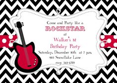 12  Rock Star  Guitar Birthhday party or Baby Shower invitations with envelopes. $12.50, via Etsy.