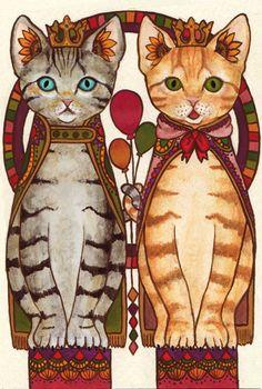 2匹のネコ    制作環境      アクリル