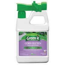 Green It Liquid Corn Gluten- Organic weed control. Corn gluten weed preventer in new liquid form. For use on lawns, ornamentals and vegetable gardens. It contains organic dipeptides that release into the soil, causing the roots of weeds to fail to grow properly and die out. Water soluble for quick release protection up to 3 weeks. Covers more area with less product than granular corn gluten. 64 ounces covers 2000 square feet. Comes in a handy hose end ready to use spray.