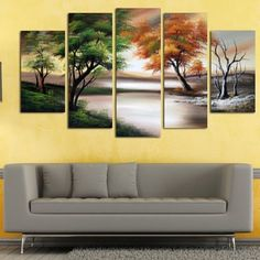 Changing Seasons' Large Gallery-wrapped Hand Oil Painting Canvas Art (Changing Seasons Large Painting - 5 Pieces), Green, Size 32 x 60 Shop for Changing Seasons' Large Gallery-wrapped Hand Oil Painting Canvas Art - Green. Get free delivery at - Your Onlin Large Canvas Wall Art, Canvas Artwork, Canvas Art Prints, Painting Canvas, Painting Trees, Kids Canvas, Canvas Canvas, Wall Paintings, Brown Canvas