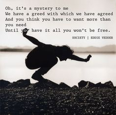 Oh, it's a mystery to me We have a greed with which we have agreed And you think you have to want more than you need Until you have it all you won't be free ~ Eddie Vedder 'Society'