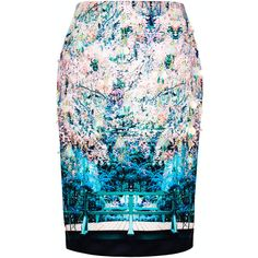 Mary Katrantzou Caspian Embroidered Palma Skirt ($2,480) found on Polyvore featuring skirts, sequin pencil skirt, pencil skirt, mary katrantzou, knee length pencil skirt and blue sequin skirt