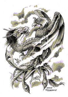 Phoenix & Dragon tattoo idea. They represent ying and yang