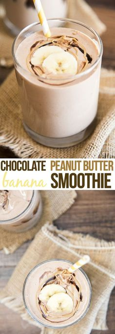 Chocolate peanut butter banana smoothie is the perfect creamy smoothie for a sweet breakfast or lighter dessert!