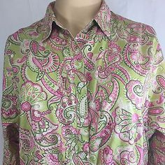 What a great print on this Jones New York Signature Blouse! Green Pink Paisley Long Sleeve Shirt Women's Plus Fashionable Plus Size Clothing, Shirt Dress, Blouse, Plus Size Outfits, Paisley, Long Sleeve Shirts, York, Green, Mens Tops
