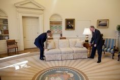 Obama moving a sofa at the White House :-)